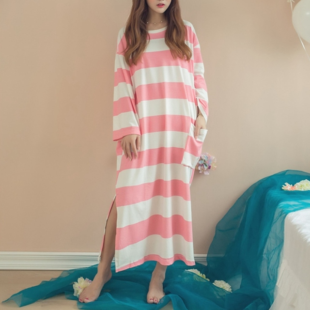 Autumn Women Sleepwear Nightgowns Long Sleeve Loose Stripe Cotton Breathable Pockets Casual Long Sleep Dress Hot Sale