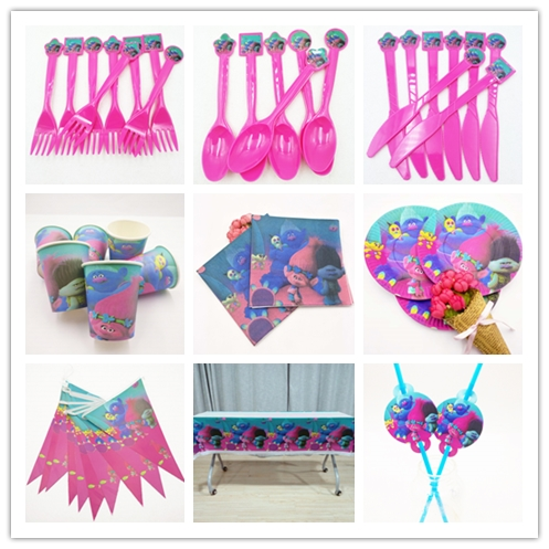 82pcs/set Trolls Birthday Party Decoration Tableware Cup Plates Tablecloth Straw Fork Napkin Kids Supplies Boy