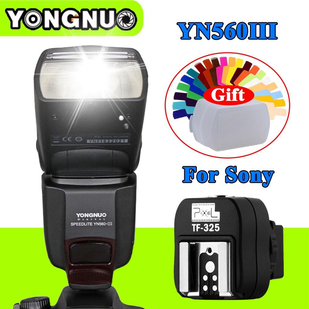Yongnuo YN560III YN-560III Flash Speedlite+Pixel TF-325 Hot Shoe Adapter For Sony A900 A850 A750 A700 A550 A500 A380 A350 Camera