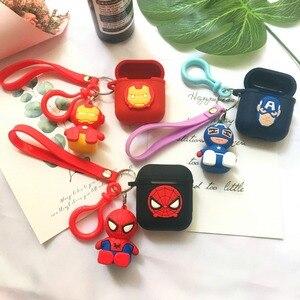 Image 2 - Marvel Cartoon fer homme Silicone Bluetooth étui pour écouteurs pour Apple AirPods Ultra mince mignon étui en polyuréthane thermoplastique pour Airpods chargeur boîte