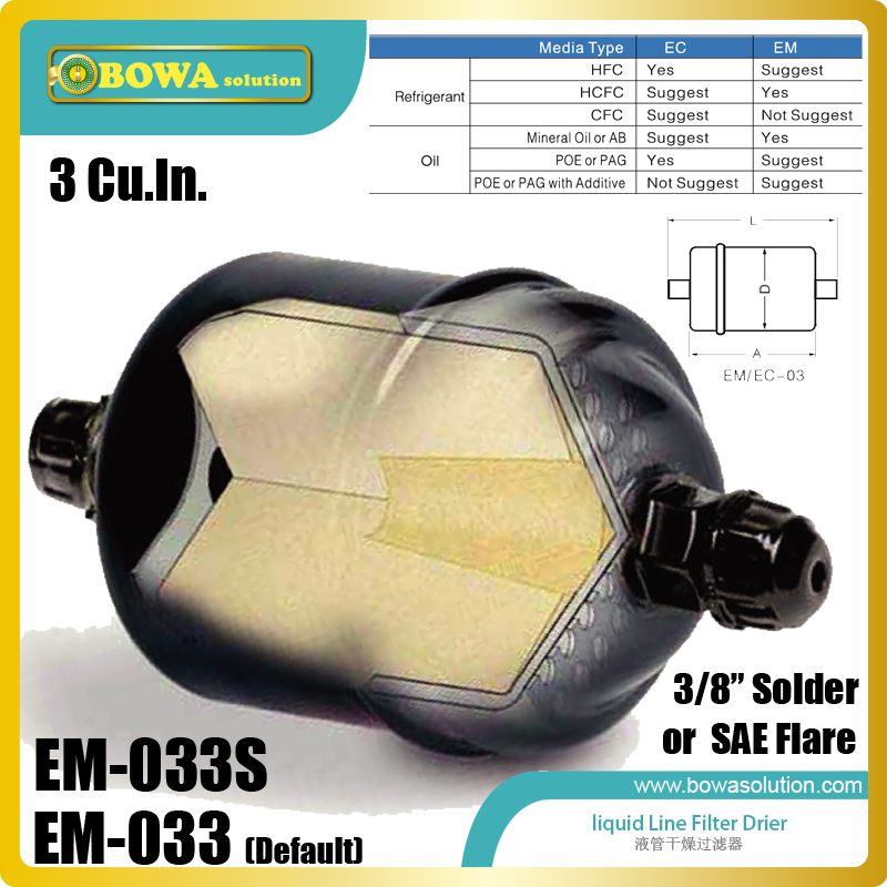 EM-033 filter driers are installed into liquid line of chillers, air conditioning, cold storage, heat pump water heater fda 489 replaceable core filter driers are designed to be used in the liquid and suction lines of air conditioning systems