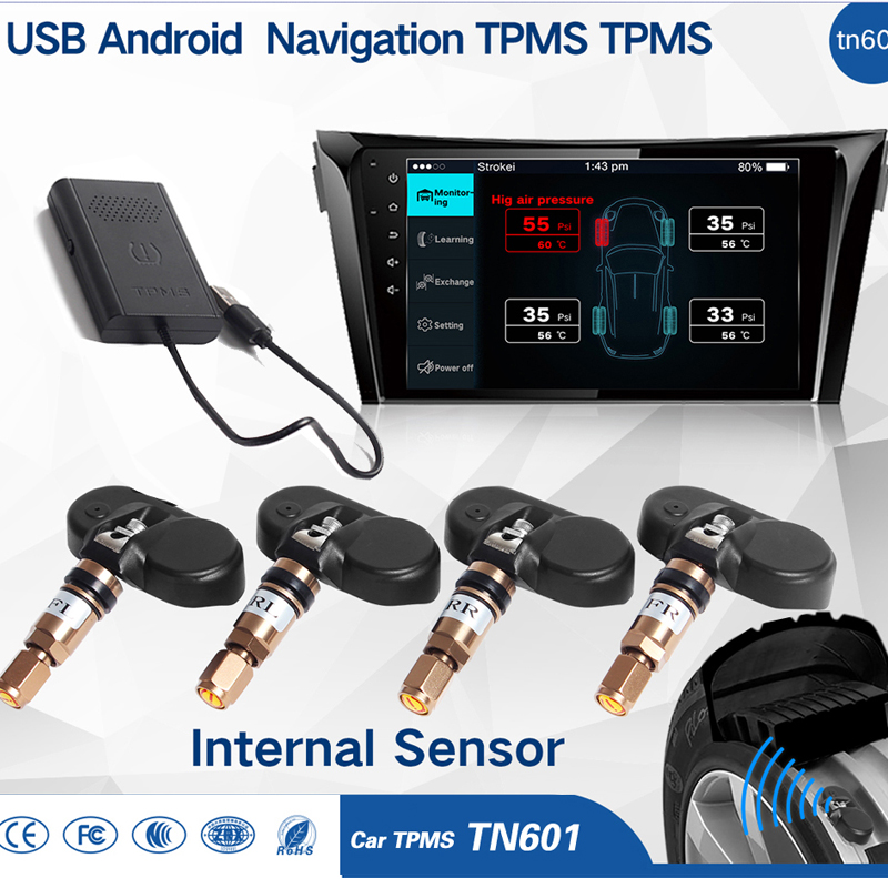 Car TPMS Tire Pressure Monitoring System for Android OS DVD Player USB Interface suit for Renault Peugeot Toyota and All Cars
