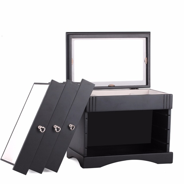 Luxury Large Wooden Storage Boxes Display Organizer Black Jewelry Rings Earrings Bracelets Gift 4 Layers Glass