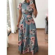 Autumn casual printed straps large skirts long skirt dress womens  short sleeve + style free shipping