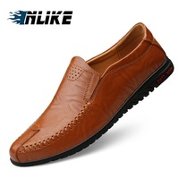 INLIKE Men Big Size Casual Men Driving Doug Shoes Genuine Leather Male Loafers Slip Lazy Flats Leisure Shoes Men Loafers