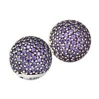 Fits Brand Bracelets Beads for Jewelry Making DIY Sterling Silver JEWELRY Fancy Purple CZ Bead Clear CZ Charms Kralen PERLES
