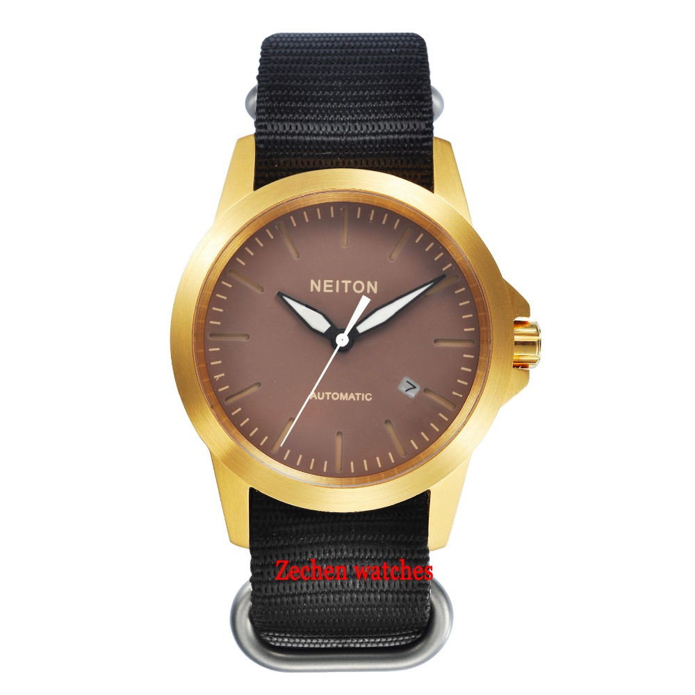 Neiton Sapphire Glass 42mm gold case Luminous hands Automatic Movement Auto date Coffee Watch mens цена и фото