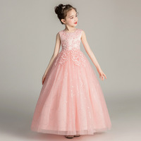Elegant Girls Party Dress Flower Girl Long Lace Tulle Dress with Flower for Wedding Party Gown Bebe Vestido