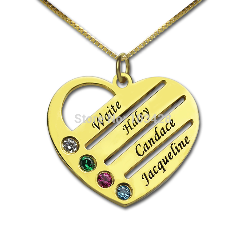 Personalized Family Necklace Gold Color Mom Necklace with Kids Names Engraved Heart Necklace Birthstone Jewelry Gift for Mother yoursfs heart necklace for mother s day with round austria crystal gift 18k white gold plated