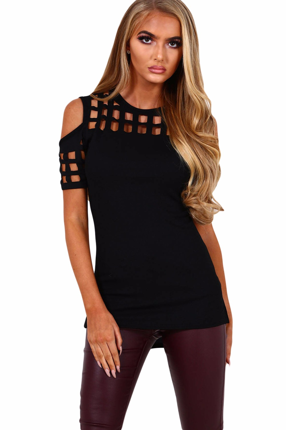 Fashion New Women Tops 2017 Pink Cage Cutout Cold Shoulder Top Blouse Casual Shirts Blusas Femininas Hot Sale LC250008