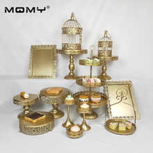 1PCS /Set Gold Pink White Silver Wedding 3 Tier Metal Round Cake Stand