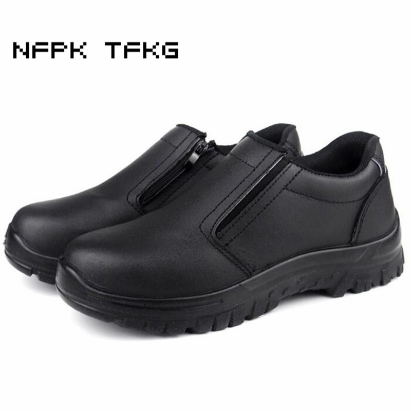 men casual large size breathable steel toe cap working safety shoes slip on non slip platform