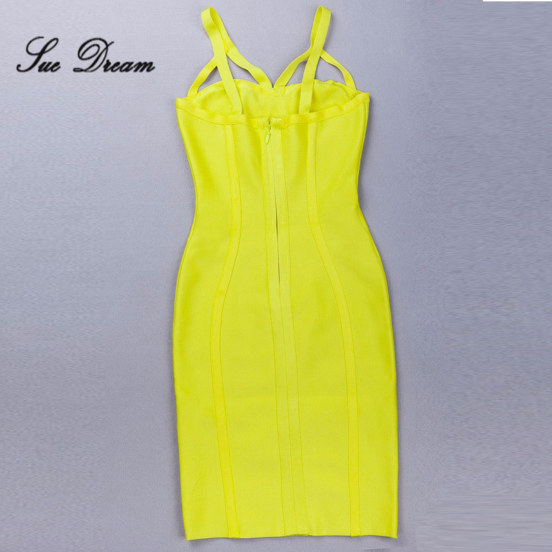 wholesale 2017 summer new yellow women Dress strap Celebrity Sleeveless Keyhole Bandage Dress Bodycon Cocktail Party Dress
