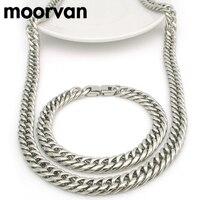 Moorvan 9 MM round cut chaîne ensemble de bijoux cool, rock hommes cadeau bracelet en acier inoxydable collier à la mode partie fixe cadeau BD13