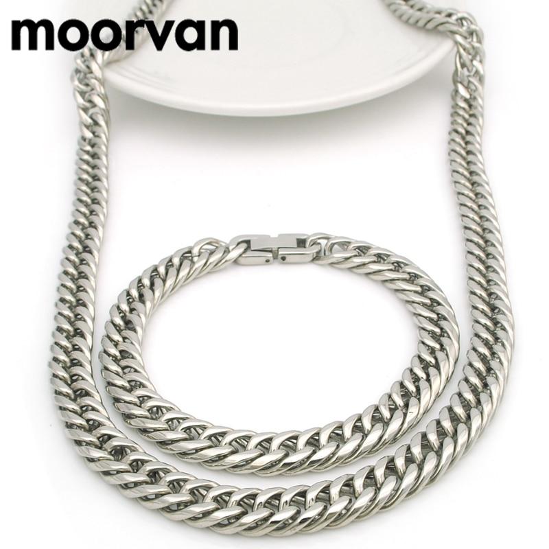 Moorvan 9 MM taglio rotondo dei monili della catena set fresco, rock degli uomini del regalo bracciale in acciaio inossidabile della collana d'avanguardia del partito set regalo BD13