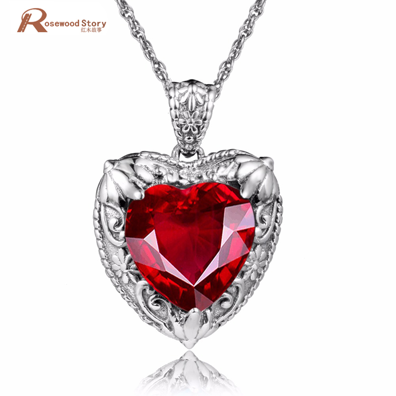 Victoria Style Restoring Ancient Ways Heart Shape Love Created Ruby Necklaces & Pendants For Women Fashion 925 Silver Jewelry