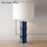American Creative Blue Ceramic Table Lamp Living Room Bedside Lamp New Chinese Classical Bamboo Table Lamp free shipping