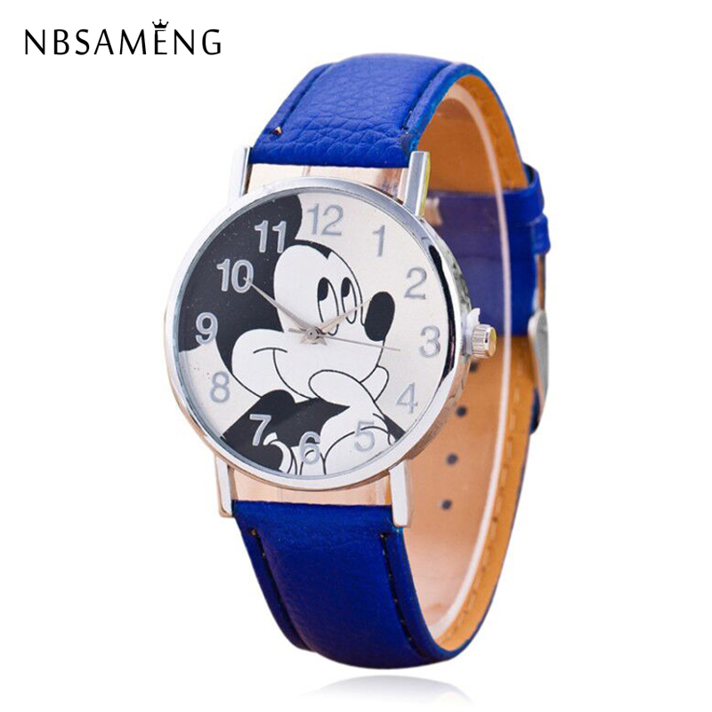 New Women Watch Cartoon Mickey Mouse Pattern Fashion Casual Watches Leather Clock Girls Kids Quartz Wristwatch Relogio Feminino 2015 new fashion boys girls silicone digital watch for kids mickey minnie cartoon watch for children christmas gift clock watch