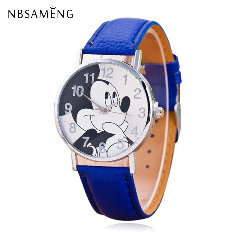 New Women Watch Cartoon Mickey Mouse Pattern Fashion Casual Watches Leather Clock Girls Kids Quartz Wristwatch Relogio Feminino