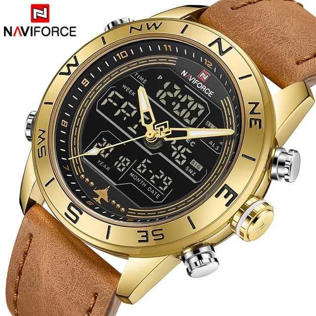 1f12c4431c42f Esportes homens Relógios NAVIFORCE Marca Top de Couro de Luxo Relógio de  Pulso Homens Militar À
