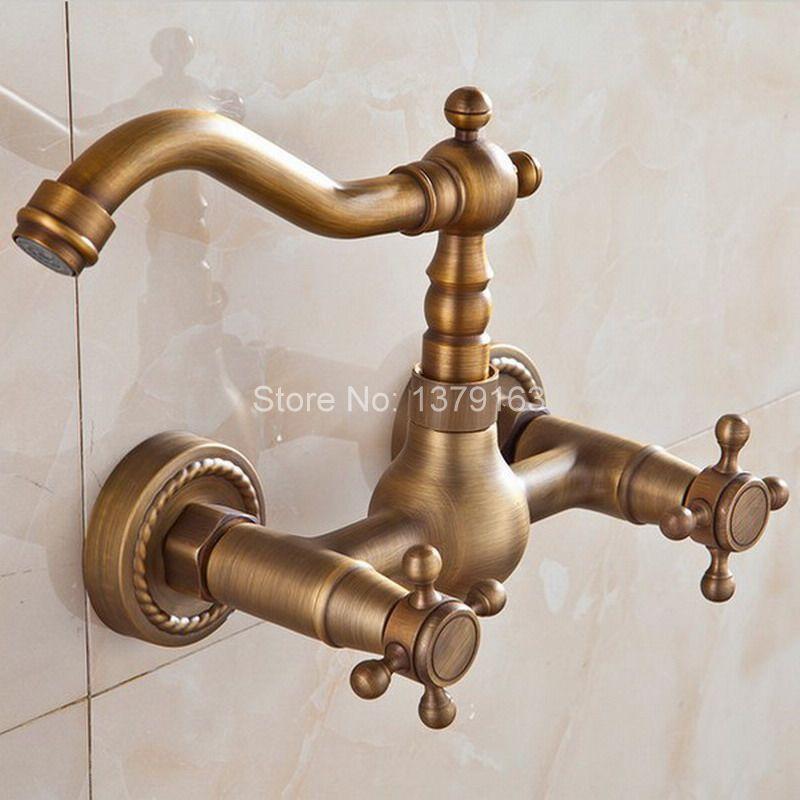Antique Brass Wall Mounted Dual Cross Handles Swivel Kitchen Bathroom Sink Basin Faucet Mixer Tap atf006 antique bronze wall mounted dual cross handles swivel kitchen bathroom sink basin faucet mixer tap anf257