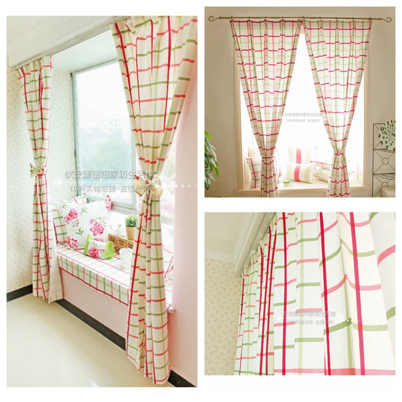 Free Shipping Rustic Brief Red And Green Plaid Curtains For Living Room Decoratin 60blackout Window Curtain Finished Product In From Home Garden