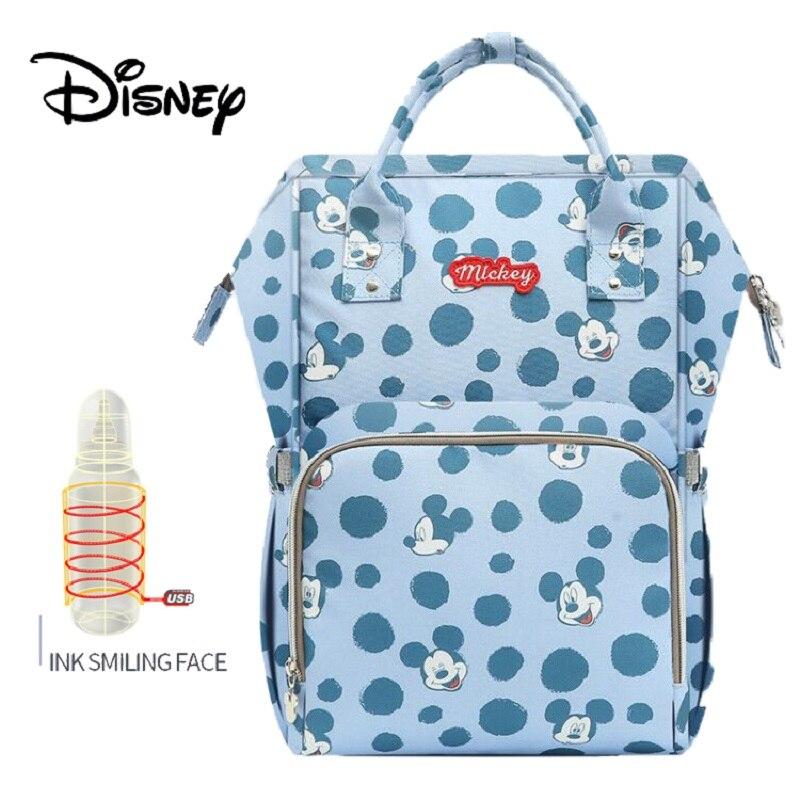 Disney sacos de isolamento de alimentação garrafa usb oxford pano fralda saco de carrinho de criança mochila bolsa à prova dwaterproof água saco de fraldas