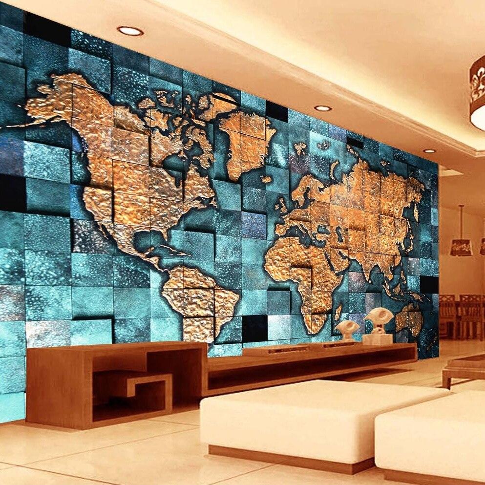 Qualquer Tamanho Personalizado 3d Mural Mapa Do Mundo Papel De  -> Papel De Parede Para Sala Com Sofa Vermelho