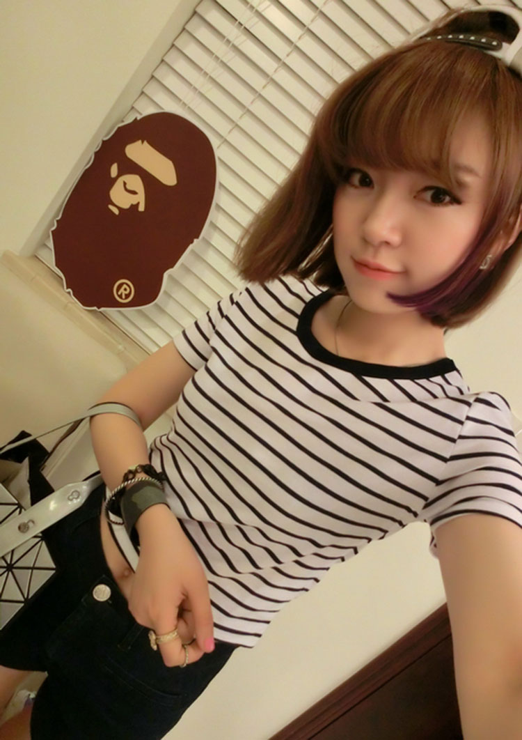 HTB1U2ufXiERMeJjy0Fdq6yIbpXaP - FREE SHIPPING Ladies T shirt Sexy Crop Tops Striped Short JKP130