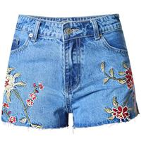 Denim Shorts Small wrinkle Embroidery printed High Waist Jeans Short Women Summer shorts