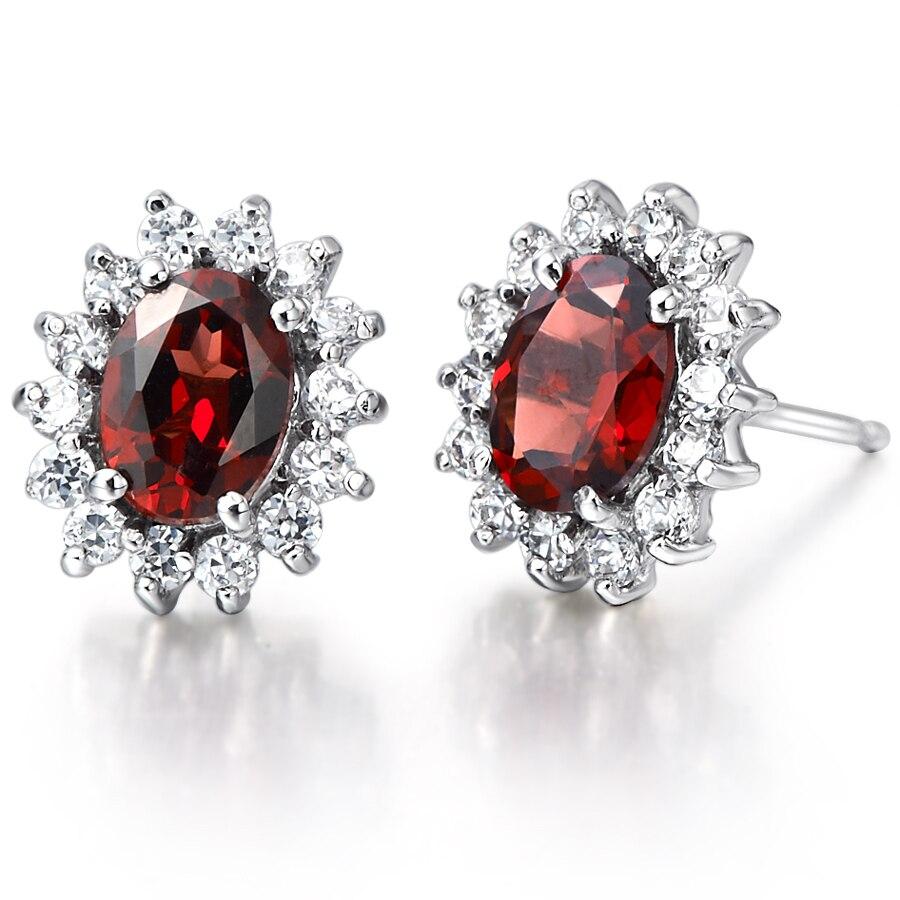 Naturel grenat boucle d'oreille Stud 925 en argent Sterling femme Fine élégante rouge gemme bijoux princesse fille pierre de naissance cadeau de noël