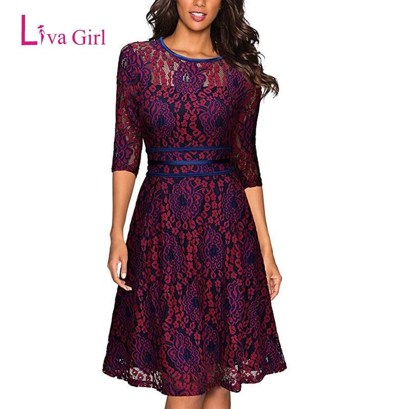 Liva Girl Women Autumn Vintage Elegant Lace Dress Half Sleeve Print Floral For Womens Mesh Midi
