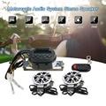 Universal moto 2*7 w falante estéreo sistema de áudio com lcd à prova d' água/Slot Para Cartão SD/Rádio FM/Relógio/Controle Remoto