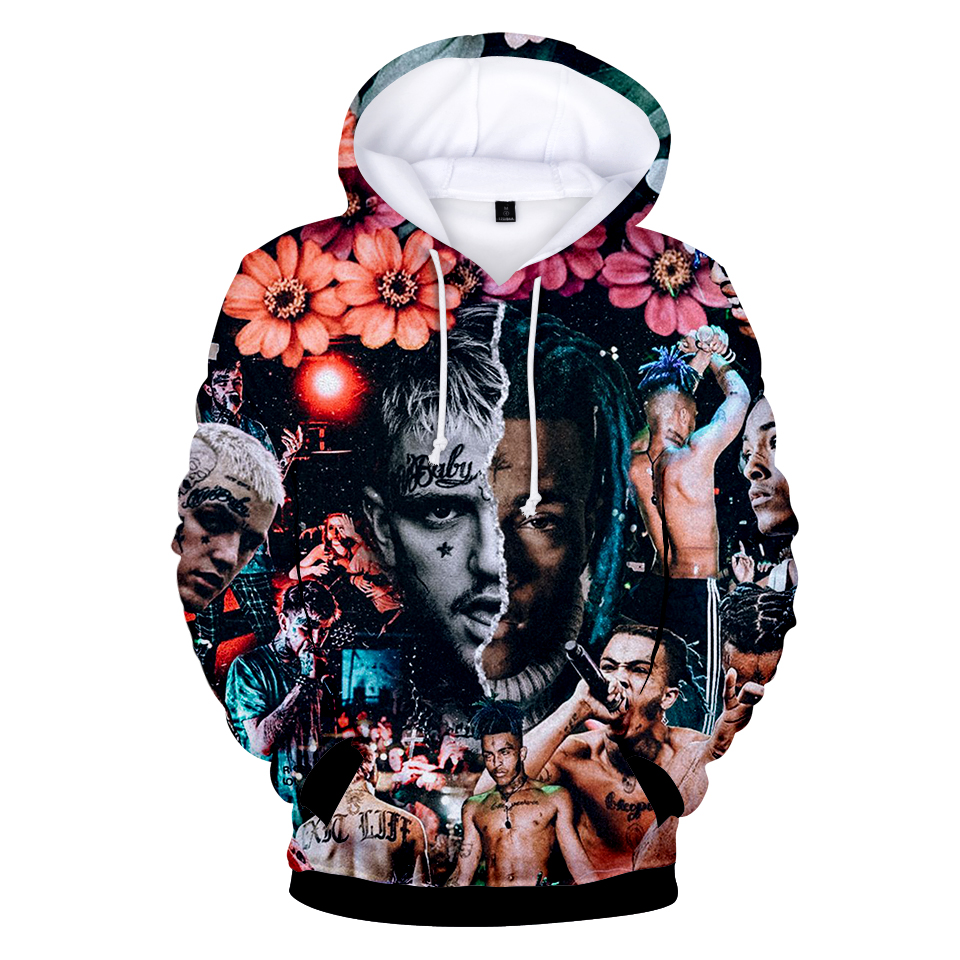 2018 XXXtentacion y lil peep 3D imprimir Hoodies sudaderas Harajuku mujeres/hombres manga larga streetwear hit hop streetwear ropa