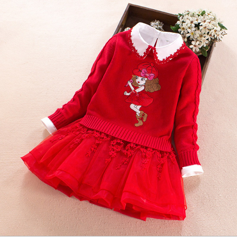 Children clothing sets Winter Warm princess Cartoon girl Sweater T-shirt + Dress 2pcs baby girls set 4 5 6 7 8 9 years kids suit