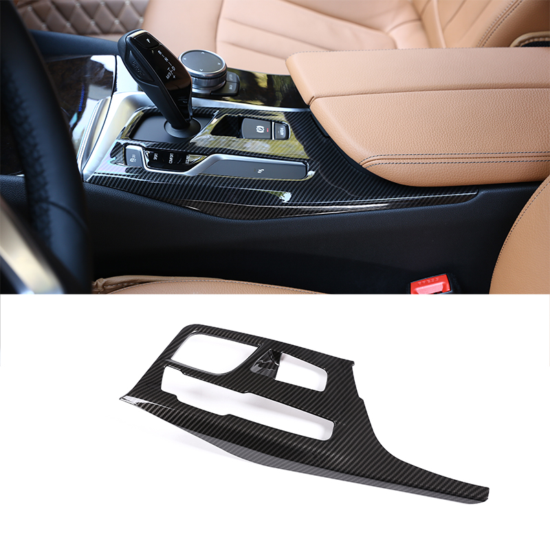 Carbon Fiber for BMW 5 Series G30 2018 Center Console Gear Shift Panel Cover Trim Car Accessories 1PC