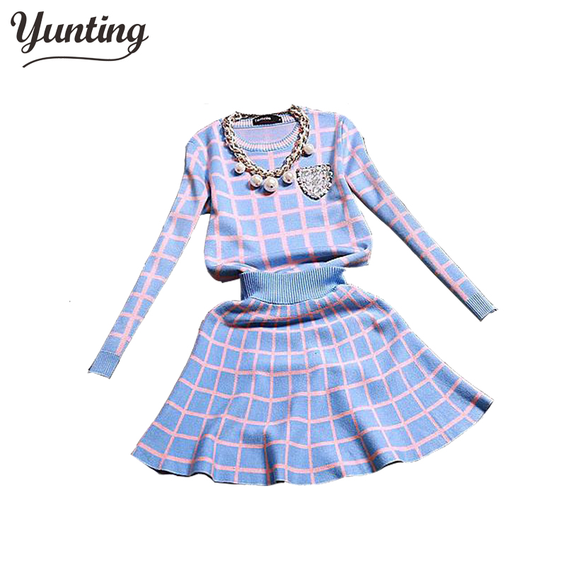 2018 New Knit Long-sleeve Sweater Skirt Suits Women Sweet Beads Collar Knit Crochet grid Crop Top A-line Skirt Women's 2pcs Set charter club new blue sky women s medium m cable knit crewneck sweater $59 359