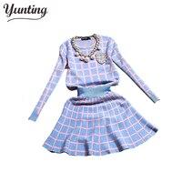 2015 New Knit Long Sleeve Sweater Skirt Suits Women Sweet Beads Collar Knit Crochet Grid Crop