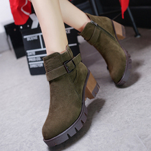 New Autumn Winter Women Boots High Quality Solid European Ladies Nubuck Leather Fashion High-heeled Ankle Boots Free Shipping