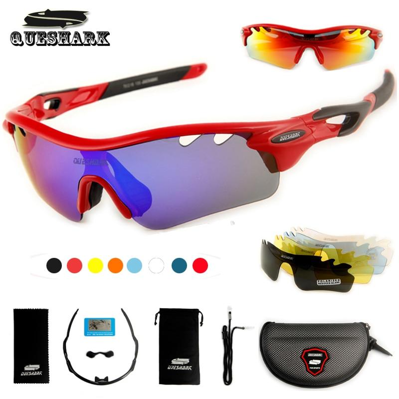 Prix pour Queshark tr90 uv400 5 verres polarisés vélo lunettes vélo lunettes sports de plein air vélo lunettes de soleil randonnée équitation lunettes de sport