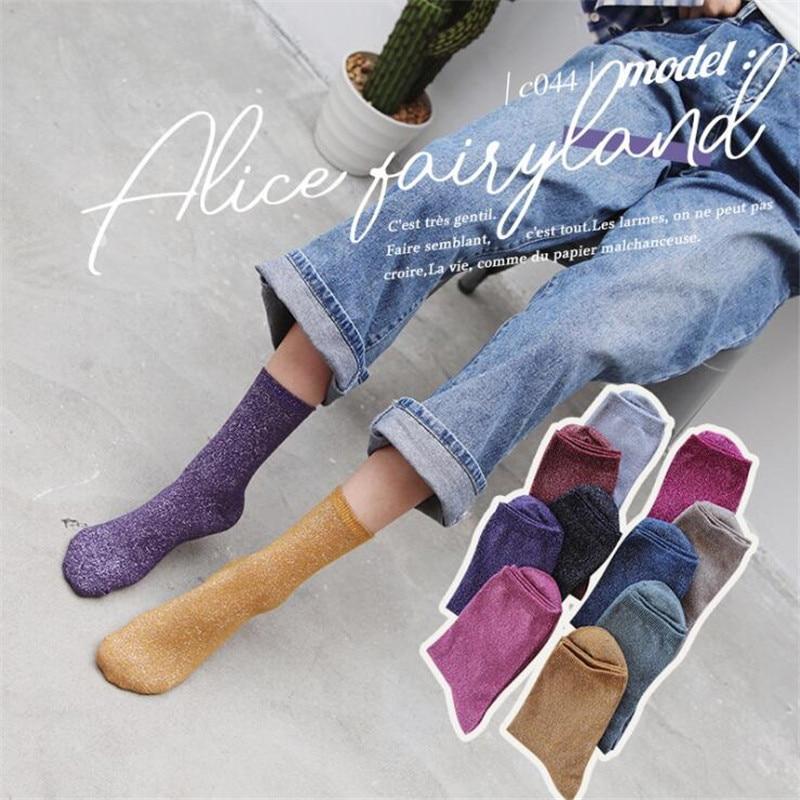 Colorful Glitter Harajuku Socks Women Fashion Funny Solid Shiny Socks Female Breathable Art Cotton Socks Hipster Socks Meias