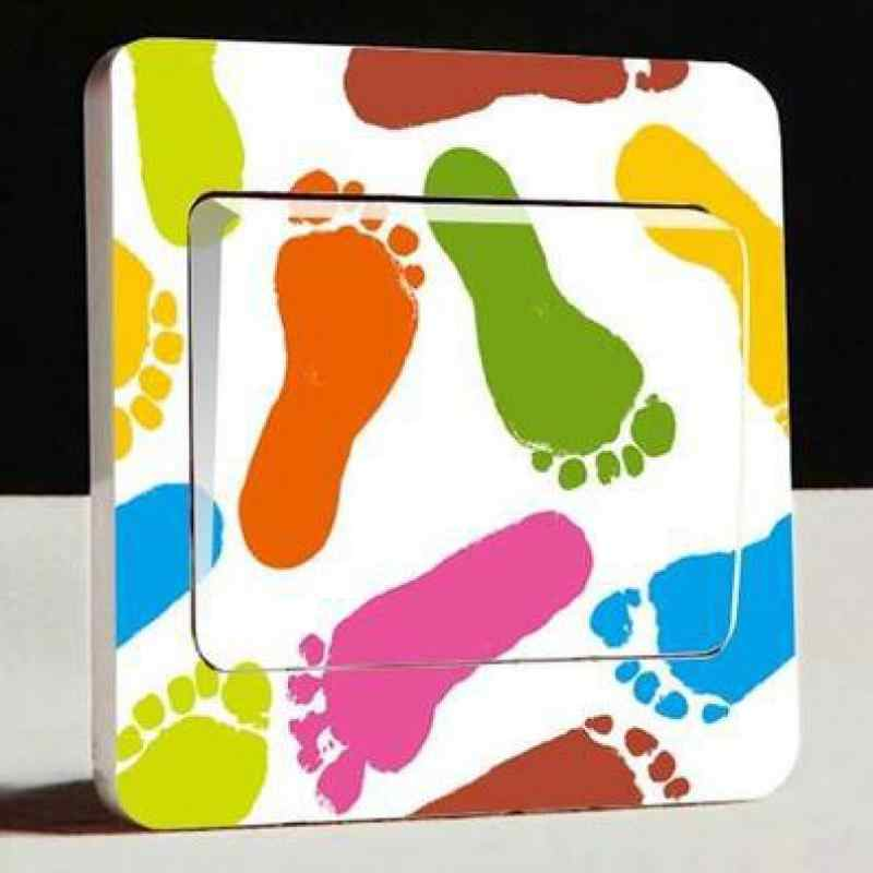 Modern fashion handprint footprints lip print ink switch stickers living room children 's room dream color decoration stickers
