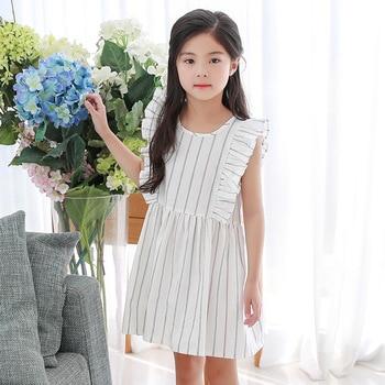 2018 summer casual little girls summer dress school ruffles princess dresses for teenagers girls designer white kids clothes