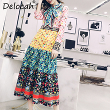 цены Delocah Autumn Women Dress Runway Fashion Designer Long Sleeve Gorgeous Bow Flower Printed Vintage Slim Mid-Calf Lady Dress