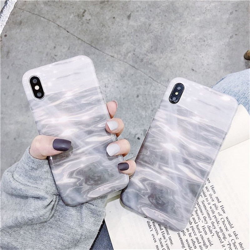 Retro Gray Water Light Ripple Cases For iPhone X XS Max XR 6 6S 7 8 Plus Waves Full Body Soft IMD Phone Back Cover Gift in Fitted Cases from Cellphones Telecommunications
