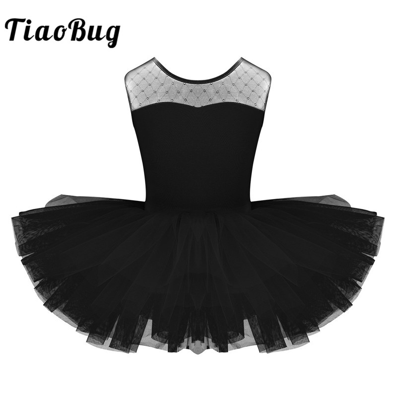 <font><b>TiaoBug</b></font> Girls Professional Ballet Tutu Dress Short Sleeve Mesh Splice Child Dance Leotard Dress Kids Stage Swan Dance Costume image