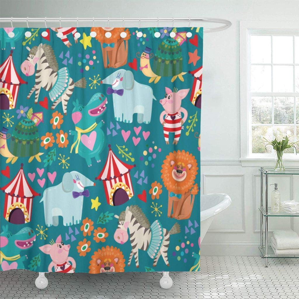 Shower Curtain With Hooks Lion Wonderful Of Circus And Funny Animals Retro Attraction Ball Birthday Carnival Decorative Bathroom In Curtains From