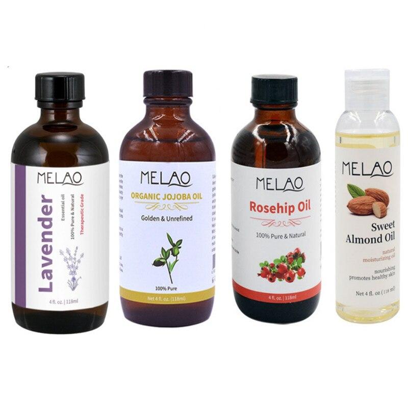 MELAO 100% Pure Organic Essential Oils Jojoba , Rosehip, Lavender, Almond Oil For Face And Body Massage Oil 118ml