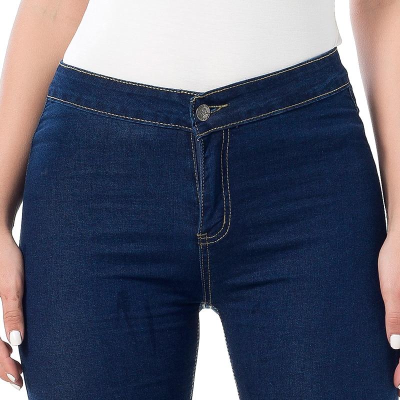 Slim Jeans For Women Skinny High Waist Jeans Women Denim Pencil Pants Elastic Women Jeans Navy Blue Free Shipping