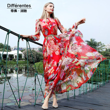 2017 spring and summer silk full dress slim print long sleeve elegant dress women's clothing expansion bottom one-piece dress